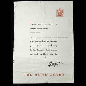 London Medal Company - Home Guard Certificate of Service iss...