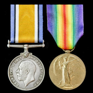 London Medal Company - A Great War pair awarded to Bombardie...