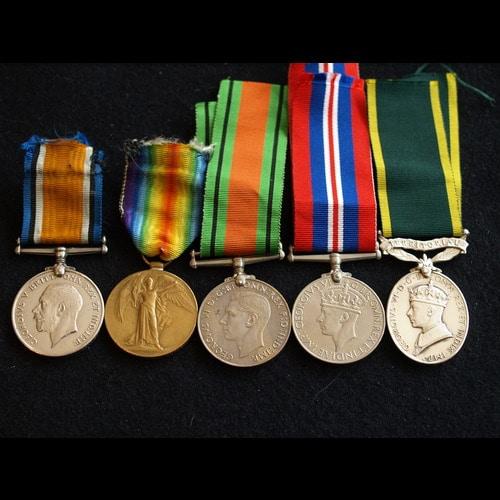 BWM, VM, DM, WM & EM Territorial WO2 King 14th London, Labour Corps & RAOC - product image